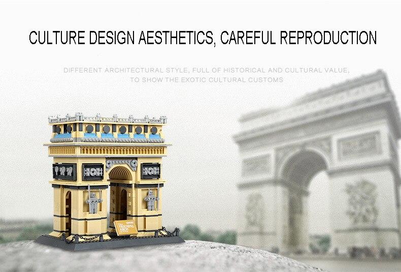 Wange 8021 France Arc de Triomphe Architecture model 1401pcs