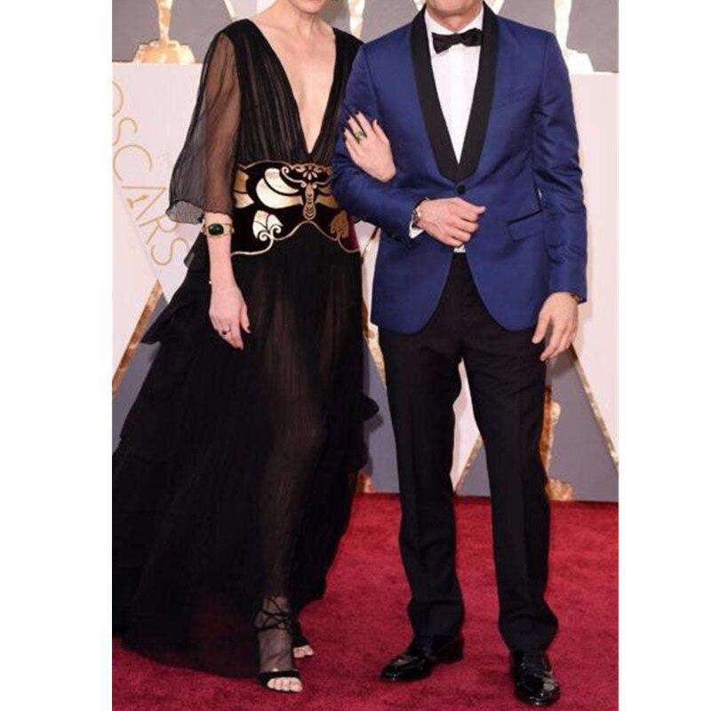 Dernier manteau pantalon conceptions bleu châle revers personnalisé formel mariage costumes pour hommes marié tapis rouge 2 pièces Slim Fit Masculino