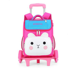 Trolley Kids Backpack Children School Bags cartoon Mochilas With Wheel Trolley Luggage For Girls backpack Backbag kids Schoolbag(China)