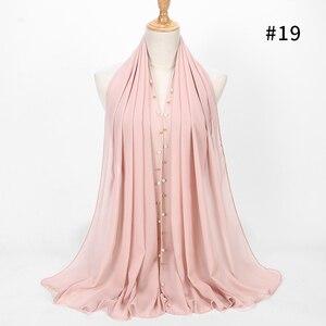 Image 3 - 1 pièce or perlé perle écharpe grand soldat couleur qualité bulle mousseline de soie écharpe plaine châles hijab musulman écharpe 20 couleur 180*75cm