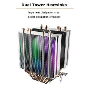 Image 2 - Aigo L6 สอง Tower CPU Cooler ฮีทซิงค์ 6 Direct Contact ความร้อนท่อหม้อน้ำ 90mm LED พัดลมคอมพิวเตอร์ CPU Cooling Cooler