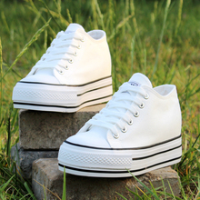 Women Canvas Lace Up Flat Platform Creeper Casual Shoes Round Toe Leisure Students S41