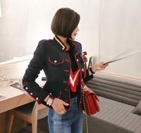 Korean version of the new temperament fashion bow brooch single breasted stand collar long sleeved short coat