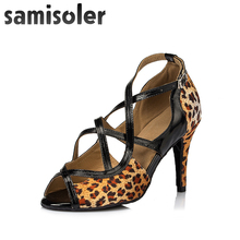 Samisoler Pink/Leopard New Cloth Collocation Shine Ribbons Ballroom Fashion Dance Women Latin Dance Competition Shoes shine ring sr828 pink