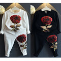 Toddler Clothes Set Infant Girls Kids Red Rose Embroidered Design Bling Tops + Pants Leggings White/Black 2pcs/Set Outfits 21