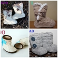 Retail Handmade Knit Baby Booties, Hand Crochet Baby Boots, Crochet Baby Shoes
