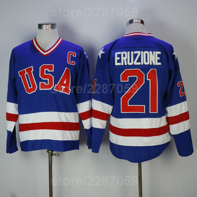 Ediwallen Pas Cher 21 Mike Eruzione Jersey Hommes Équipe Bleu Couleur Blanc 1980 USA Hockey Sur Glace Jersey En Gros Top Qualité Sur vente