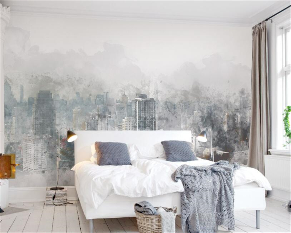 beibehang Modern home background decorative wallpaper fashion watercolor hand painted city landscape TV backdrop 3d wallpaper in Wallpapers from Home Improvement