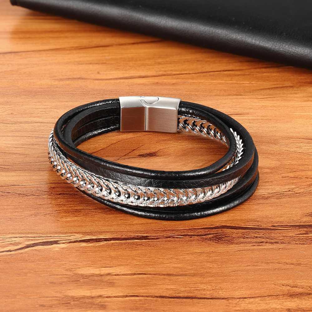Bracelet en cuir de combinaison de chaîne en acier inoxydable Punk de luxe accessoires multicouches personnalité hommes Bracelet Collection cadeau