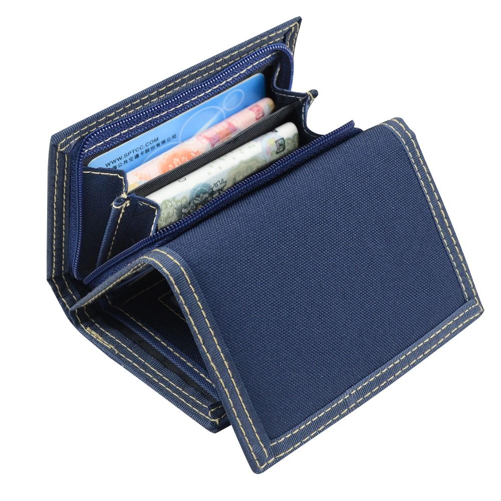 Multifunkční pánské plátno Studentská peněženka Zipper Short Magic 3 Fold Design Mužská peněženka 4 barvy 12 * 8.5cm X102