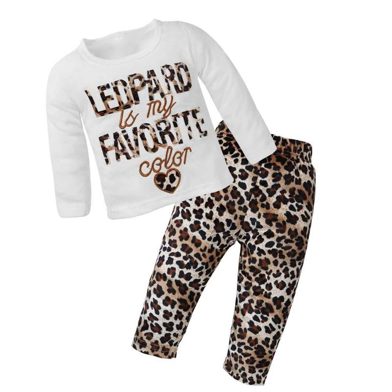 2pcs/Set Baby Girls Leopard Pattern Embroidery Long Sleeve T-shirt + Pants