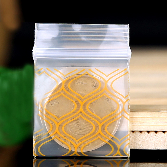 Print Miniature ZipLock Grip Plastic Packag Bag Food Candy Jewelry yellow Resealable Thick PE Self Sealing Small Package diamond
