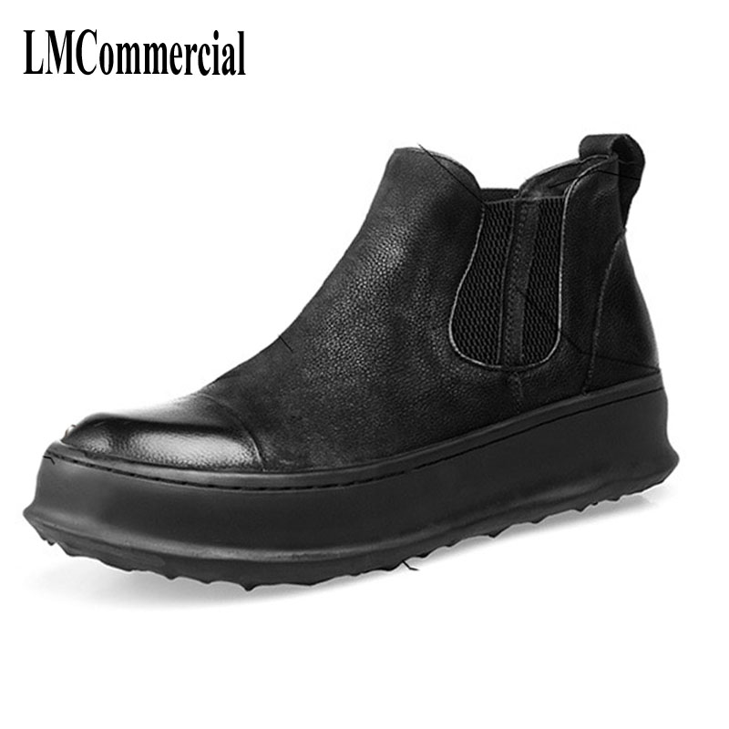 hot 2017 authentic men s boots british tide martin boots men s leather boots leather boots lovers scooter 34 45 Martin British leather boots men autumn winter British retro high shoes snow desert boots men's casual shoes