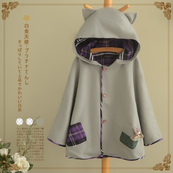 Japanese Kawaii Cat ears Pullover Hooded Coat Sweatshirts Lolita Girls Cloak
