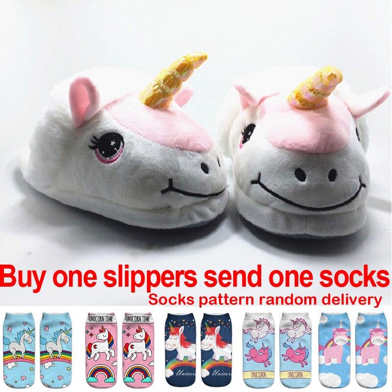 Sandal Unicorn baru, Anak-anak musim dingin yang hangat mewah Boy gadis sandal, Katun anak-anak dewasa sepatu rumah, 28 - 42 ...