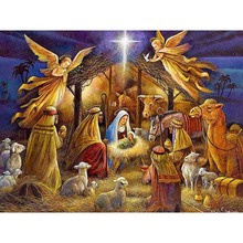 Birth of Jesus Full Square Angels 5D Diamond Painting Embroidery Round Drill Mosaic Cross Religion Stitch Home Decoration Gift birth of jesus christ 5d diy diamond painting cross stitch religion full square round drill mosaic diamond embroidery home decor