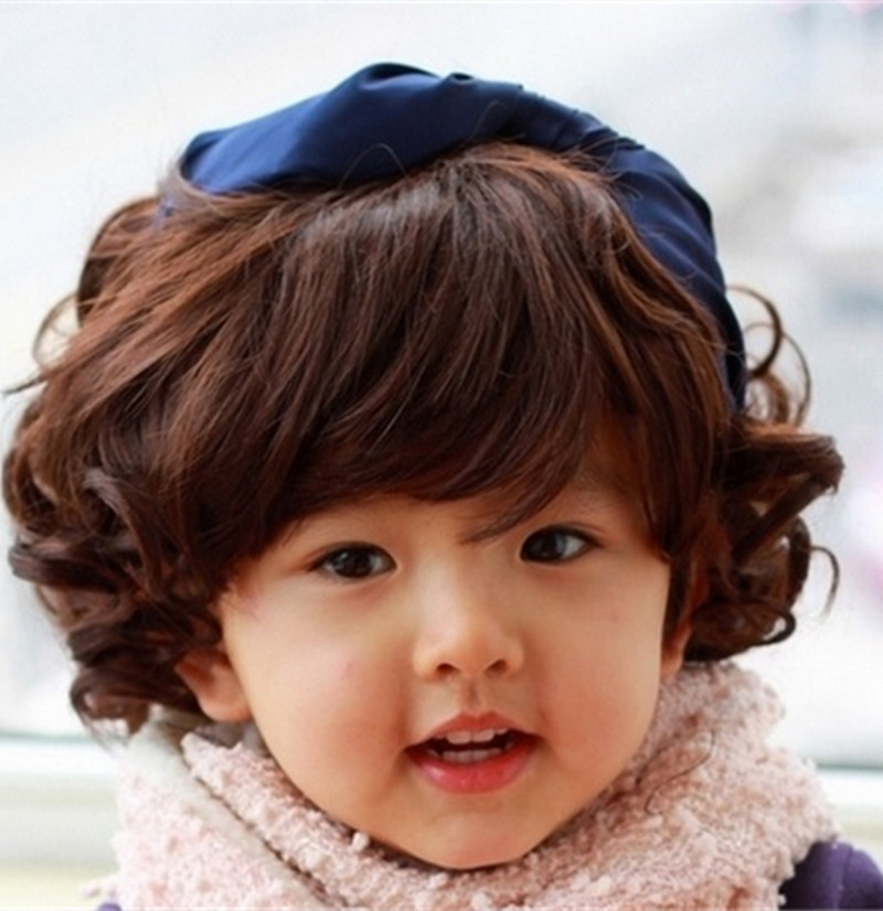 New Arrival Korean Style Baby Girl Short Wigs Black And Dark Brown
