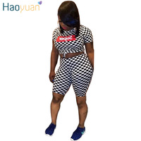 HAOYUAN Two Piece Set Short Sleeve Tops And Shorts Sweat Suit Checkerboard Letter Print Sexy Tracksuit