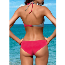 Sexy Push Up Bikini Swimwear Women Solid Patchwork Bikini Set Swimsuit Bathing Suit Halter Biquini Brazilian Beachwear Female