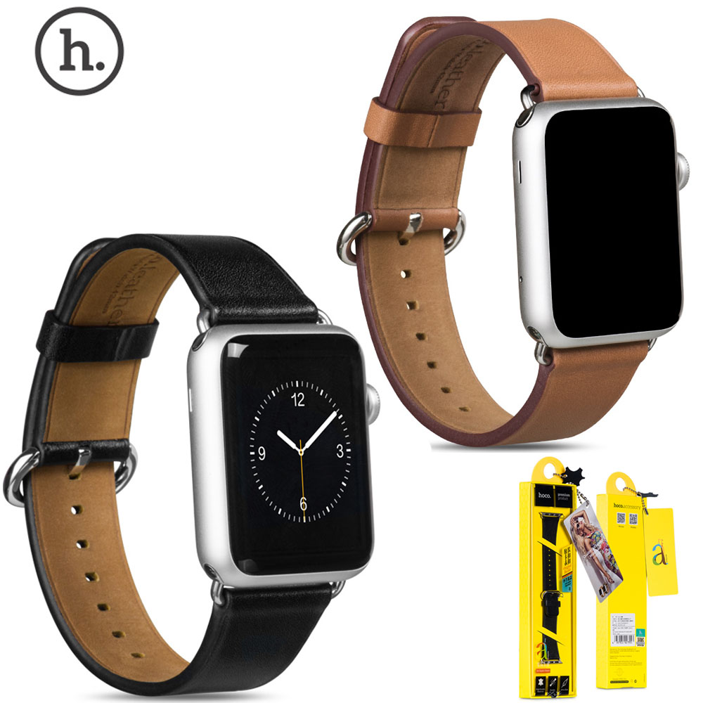 HOCO Cowhide Watch Band For Apple Watch Series 1/2/3 Genuine Leather Strap Belt For iWatch 42mm 38mm Bracelet With Adapters cowhide genuine leather strap watch band for apple watch iwatch series 1 series 2 38mm 42mm wristband replacement with adapter
