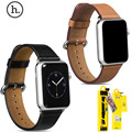 Hoco funda de cuero de vaca genuino venda de reloj para apple watch series 2 real correa de la correa de cuero para apple watch iwatch 42mm 38mm con adaptadores