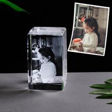 パーソナライズされたフォトフレームカスタマイズされた画像クリスタルレーザー彫刻ガラス額縁フォトフレーム結婚式の写真