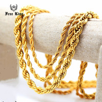 24 30 36 Men Stainless Steel Gold 5mm 6mm 10mm Wheat Rope Necklace Chain Twist Link