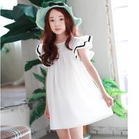 Beach Toddler Teenagers Dress For Girls Ruffles Short Sleeves White Princess Girl Children Dress Summer Spring