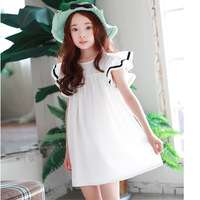 Beach Toddler Teenagers Dress For Girls Ruffles Short Sleeves White Princess Girl Children Dress Summer Spring