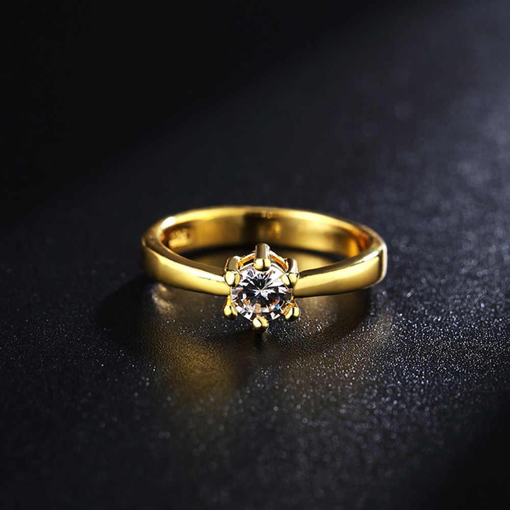 אופנה סיטונאי גודל 6-9 זהב צבע כסף צבע קריסטל CZ אבן חתונה אירוסין טבעת עבור נשים נובל מתנה LR096