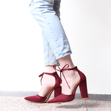 Pointed Strappy Block Heel Shoes