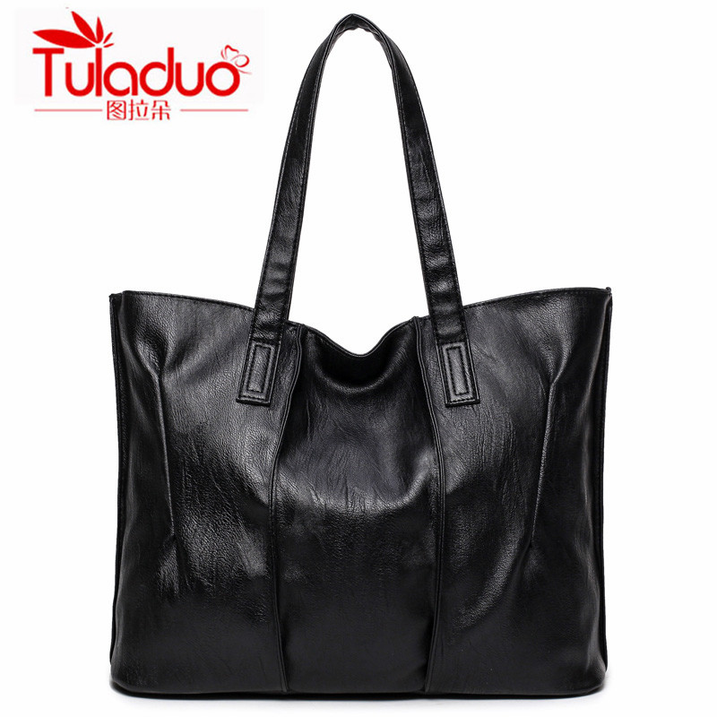 High Quality PU Leather Women Handbags England Style Black Pleated Ladies Casual Tote Bag Large Capacity