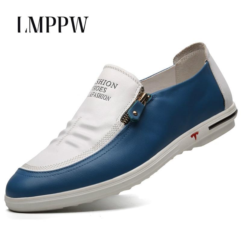 Chaussures pour hommes de marque italienne en cuir véritable robe d'affaires blanc chaussures de luxe de mode chaussures plates pour homme mocassins doux respirant 2A