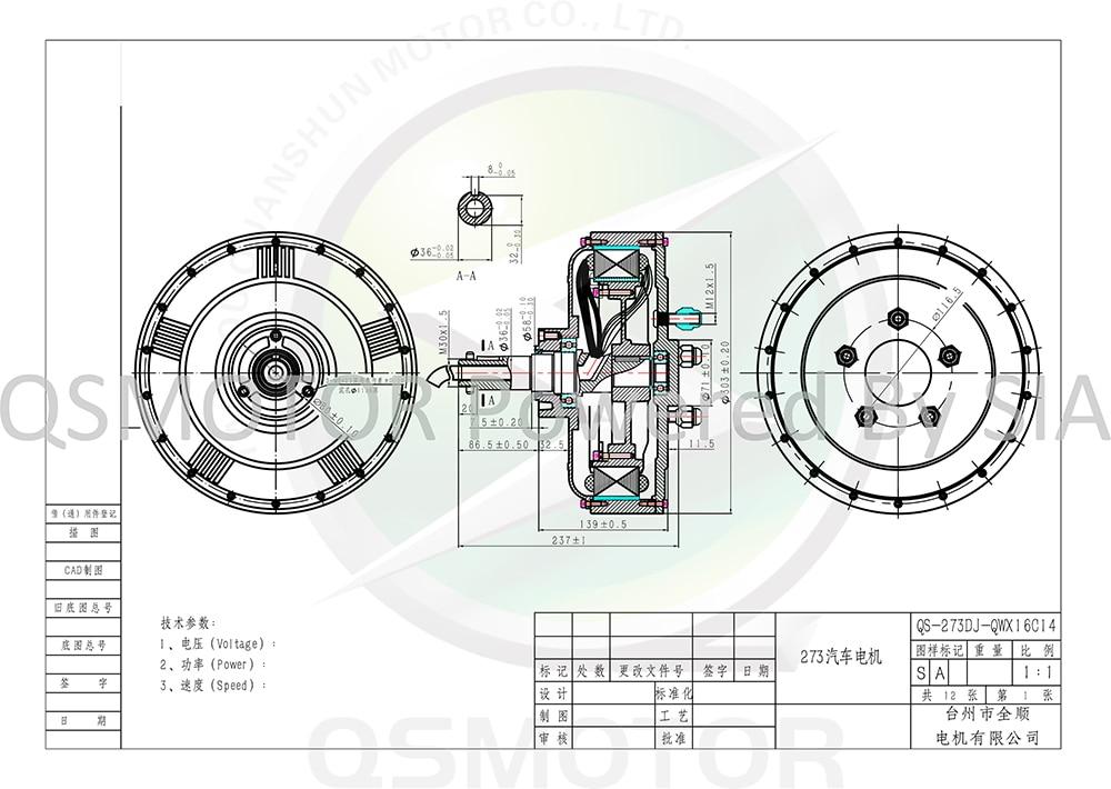 273 e-car hub motor