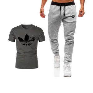 Summer new Sale Men's Sets T Shirts+pants Casual Tracksuit 2019 Tide brand Tshirt Gyms Fitness Sportswears Two Pieces