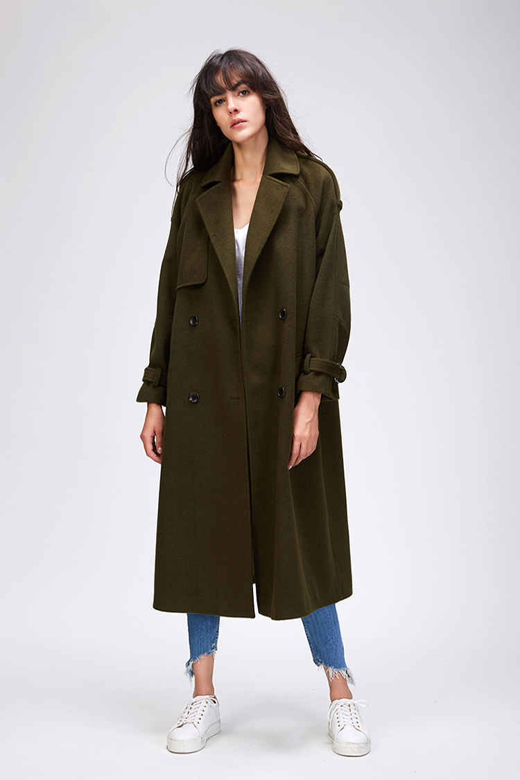 JAZZEVAR 19 Autumn winter New Women's Casual wool blend trench coat oversize Double Breasted X-Long coat with belt 860504 11