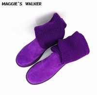 Free Shipping Women Fashion Genuine Leather Ankle Boots Women Autumn Warm Martin Boots Knitted Snow Boots