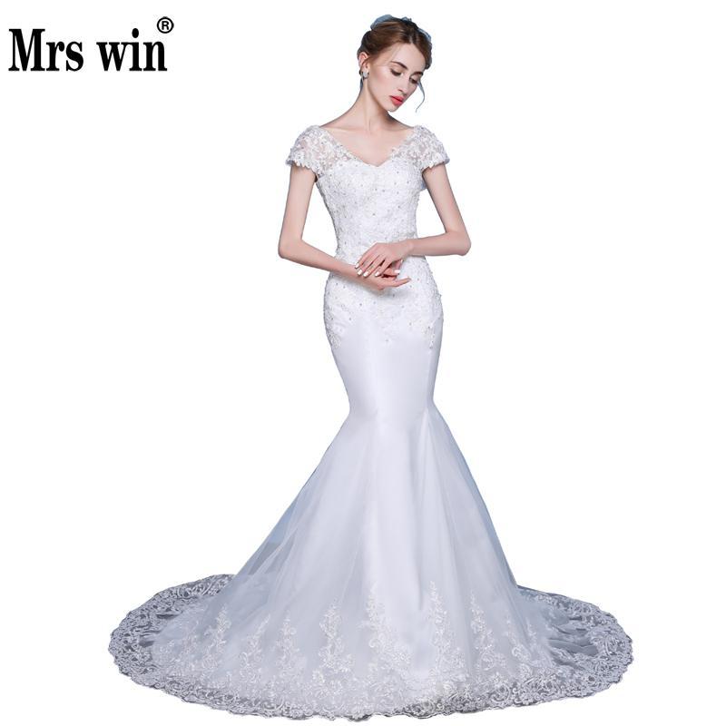White Backless Lace Mermaid Wedding Dresses 2018 V Neck: Aliexpress.com : Buy White Backless Lace Mermaid Wedding