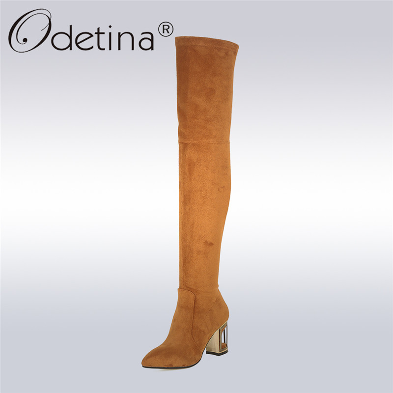 Odetina 2017 New Fashion Genuine Leather Cow Suede Over The Knee Boots Fretwork High Heels Sexy Winter Boot Shoes Big Size 33-43 armoire new sexy genuine leather black over the knee thigh high boots ladies nude shoes low heels leica aga20 big size 33 43 10