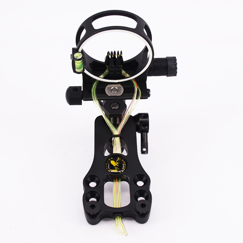 Ourpgone Archery Extreme Tactical Compound Bow Sight Bow Sight with Peephole and Light 5-Pin 0.019 Micro Adjust Tool for hunting 1 pin 0 059 bow sight micro adjust long pole for archery hunting recurve bow