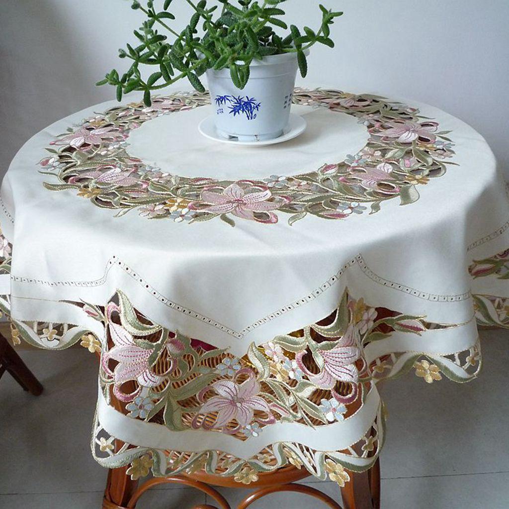 belle brodé linge de table broderie nappe universelle gremial mode