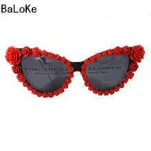 576895b77e Marca Diseño barroco ojo de gato flores negro gafas de sol de lujo mujeres  Casual Beach Sun cristales Rhinestone diseñador gafas.