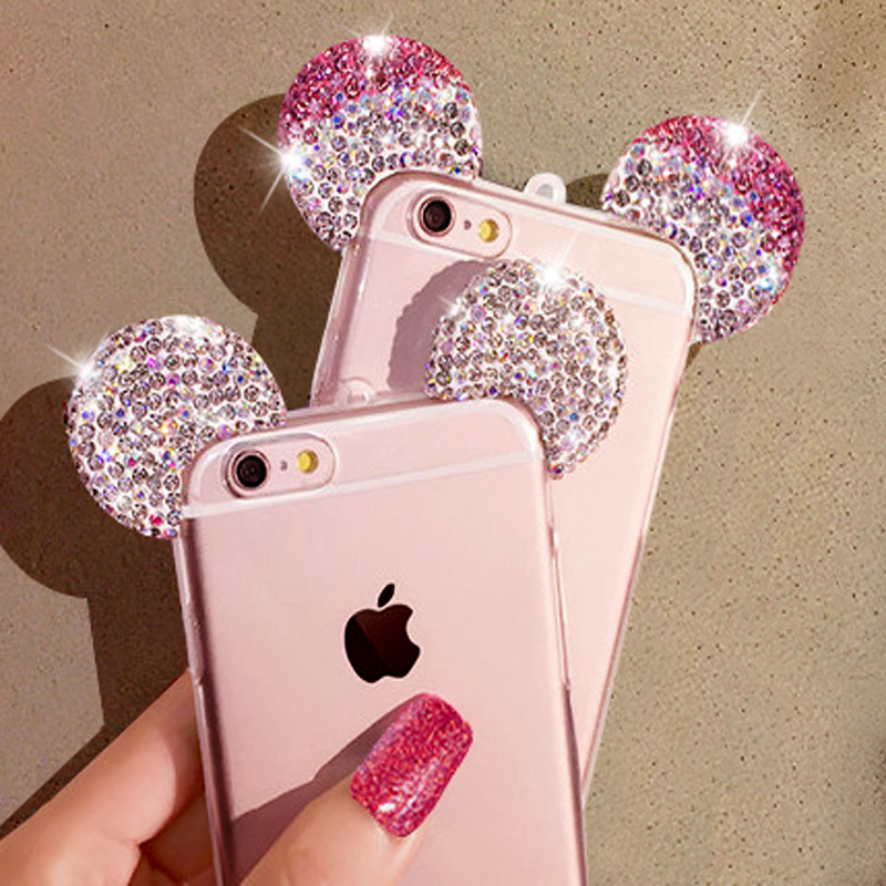 Lovely Cute 3D Mickey Mouse Ear Case For iPhone 5 5S 6s 6 Plus Rhinestone Ears Soft Transparent TPU Protect Phone Covers