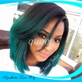 Ombre Green Straight Short Bob Synthetic Lace Front Wig side/middle part Natural Black/Turquoise Heat Resistant Hair Women Wigs