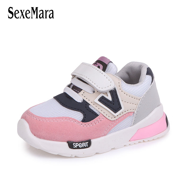 Mesh Children Shoes Sport Breathable Boys Sneakers Brand Kids Shoes For Girls Thick Sole Casual Child Flat Antiskid Shoes B01173