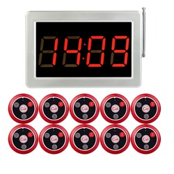 Wireless Pager Restaurant Calling System 1 pcs Voice Reporting Receiver Host + 10pcs Call Transmitter Button 433MHz