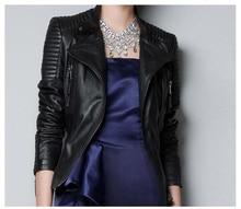 Natural sheepskin genuine leather coats slim women's oblique zipper motorcycle leather jacket fashion new design luxury brand