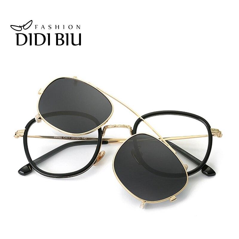 DIDI Hip Hop Steampunk Clip en gafas de sol de las mujeres hombres ajuste doble lente gafas de sol receta marcos de gafas con el caso u814