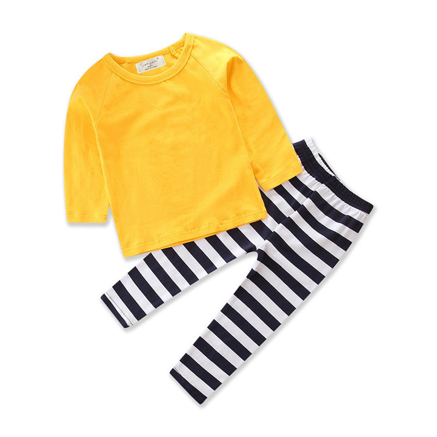 Nebworn Toddler Infant Baby Girls Tops Striped Pants Leggings Cotton Clothes Striped Outfit Set 0-3Years