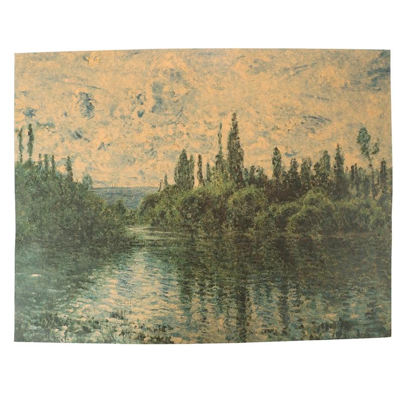 1 шт. принт импрессионистов Стена Книги по искусству Stiker Клод Моне пейзаж, холст для живописи плакат для Гостиная домашний бар Декор